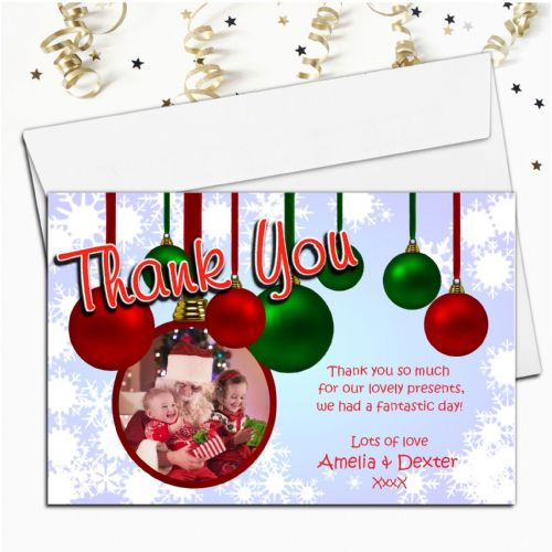 10 Personalised Christmas Xmas Thank you PHOTO Cards N37